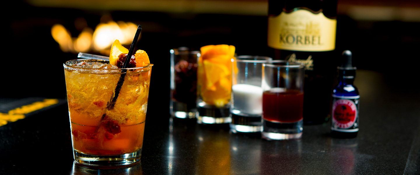 all of the makings of a delicious old fashioned drink